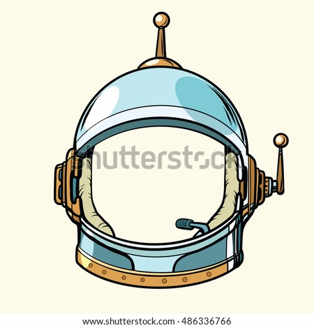 Space suit helmet isolated on white background, pop art retro vector illustration