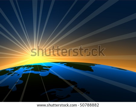 space sunrise over earth