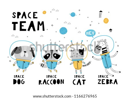 Space team. Card template with cute animals. Hand drawn graphic for typography poster, card, label, brochure, flyer, page, banner, baby wear, nursery. Vector illustration in blue and yellow.