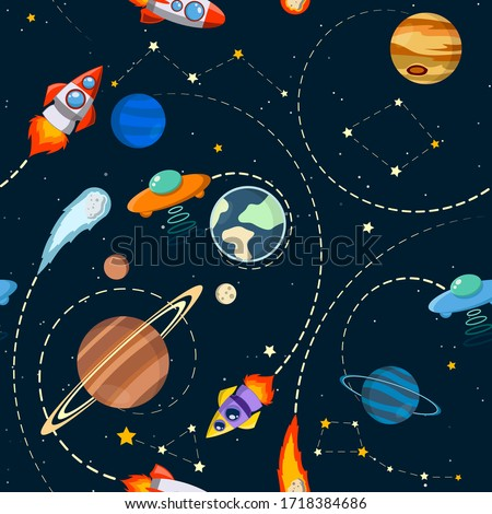 Space theme. Solar system vector kids cartoon planet seamless pattern. Rocket, UFO, planets Illustration, great for wallpaper, textile and texture design. Kids design, fabric, wrapping, apparel.