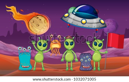 Space theme with aliens and UFO on planet illustration