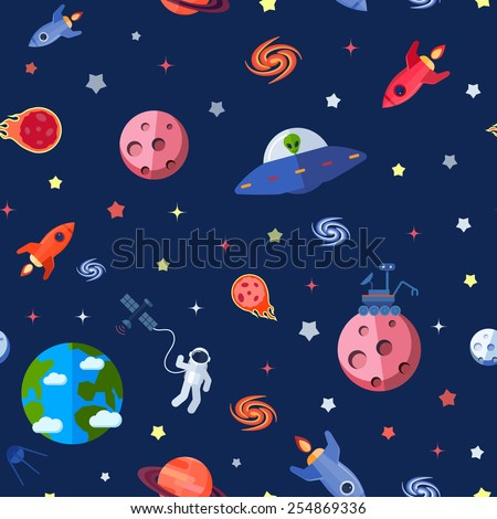 space travel seamless pattern