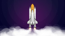 Space trip. Purple banner on the theme of space flight. Space shuttle. Fighter. Rocket Carrier is taking off. Vector.