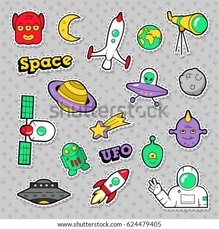 Space, UFO, Robots and Funny Aliens Badges, Stickers and Patches. Vector illustration