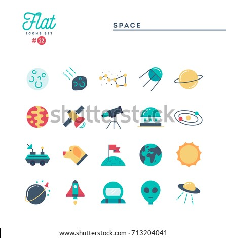 Space, universe, celestial bodies, rocket launching, astronomy and more, flat icons set, vector illustration