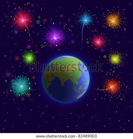 Space, vector, planets mother Earth, holiday firework and stars
