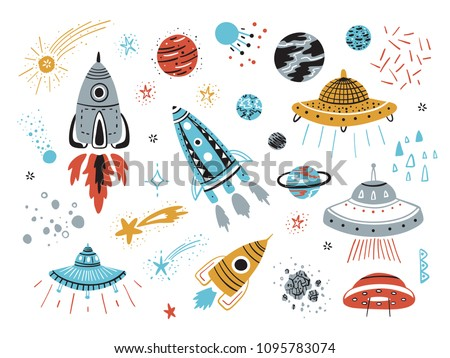 Space Vector Set with Cartoon Rockets, Planets, Stars, Comets and UFOs.