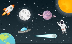 space with moon, sun, rocket, astronaut, planet, ufo and comet flat design