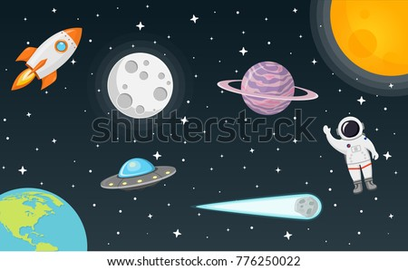 space with moon  sun  rocket