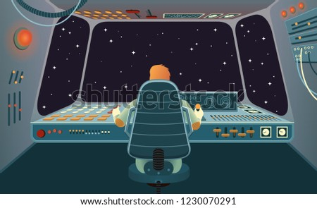 Spacecraft cabin with astronauts behind the control panel