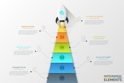 Spacecraft flying up and engine exhaust or flame divided into 6 colorful parts with numbers inside. Concept of six steps to start work project. Infographic design template. Modern vector illustration.