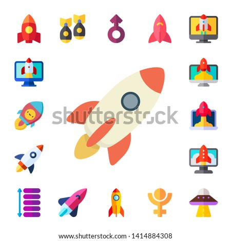 spacecraft icon set 17 flat