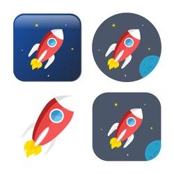 spacecraft icon - vector rocket - spaceship icon -