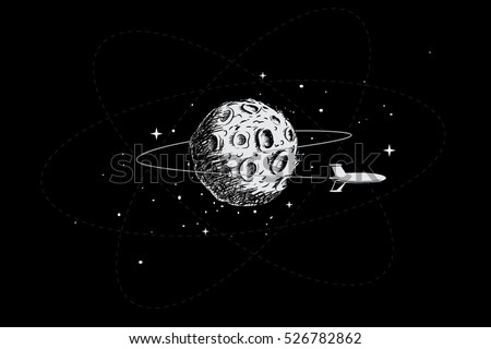 Spacecraft Orbiting The MoonHand Drawn StyleVector Illustration