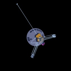 spacecraft pioneer 10 in cartoon style 2d. vector