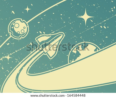spacecraft retro space theme
