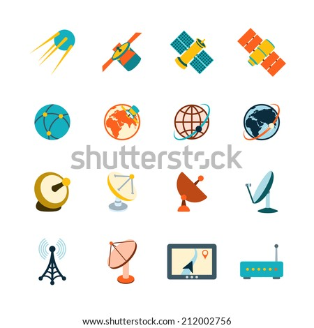 Spacecraft solar panels power satellite navigation global position system technology pictograms collection flat abstract isolated vector illustration