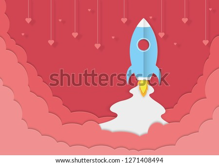 Spacecraft start up to sky with heart shape hanging in the air. Graphic for travel on Valentine's Day. Drive the spacecraft go on honeymoon. paper cut and craft style. Vector, illustration.