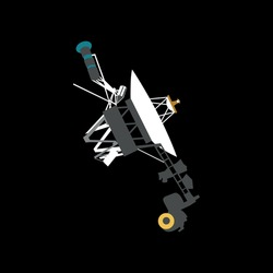 spacecraft Voyager 1 in cartoon style 2d. vector