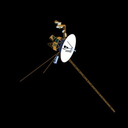 spacecraft Voyager 2 in cartoon style 2d. vector