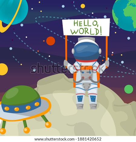 Spaceman cartoon astronaut in space, cosmonaut at moon vector illustration. Hello world, astronomy technology and graphic universe. Flat man character at cosmos galaxy adventure design. Сток-фото ©