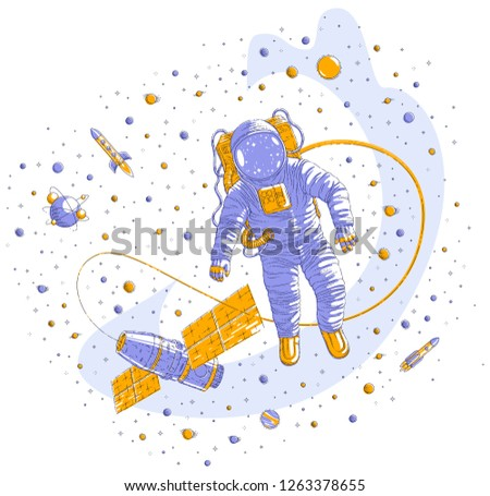 Spaceman flying in open space connected to space station, astronaut man or woman floating in cosmos and iss spacecraft surrounded by rockets, stars and other elements. Vector illustration isolated.