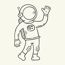 Spaceman. Hand drawn vector illustration.