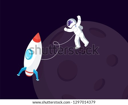 Spaceman in spacesuit and spaceship near Moon vector. Space or cosmos, cosmonaut or astronaut in weightlessness and spacecraft, Earth natural satellite