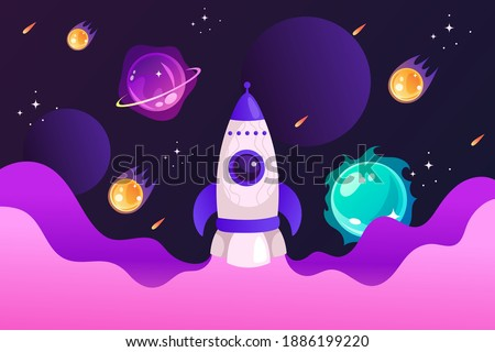 Spaceship and solar system. Colorful planets, rocket, galaxy and universe. Space cartoon childrens poster. Vector modern illustration. Template for landing page, banner, poster. EPS10
