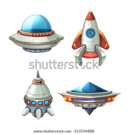 spaceship and ufo vector set in