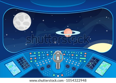 Spaceship Cabin Interior and View Window to Space Background Card Control Navigation Panel and Equipment. Vector illustration of Fantasy Travel