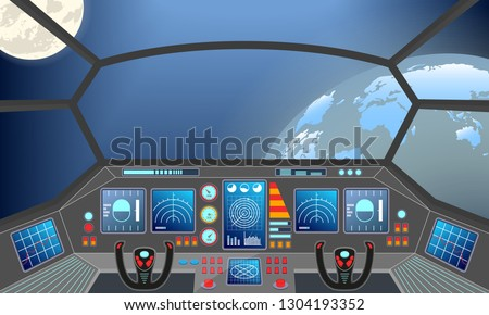 Spaceship cabin interior. Space background with planets: earth and moon. Spacecraft panel or dashboard. Vector illustration.