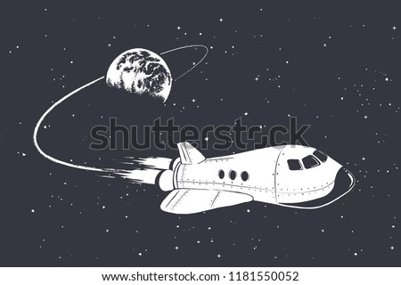 spaceship flying from Earth orbit to outer space .Vector illustration