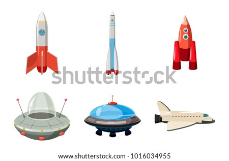 Spaceship icon set. Cartoon set of spaceship vector icons for web design isolated on white background