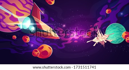 spaceship in outer space with