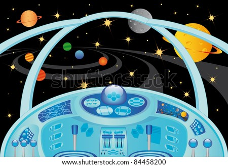 Spaceship interior in the universe, vector illustration