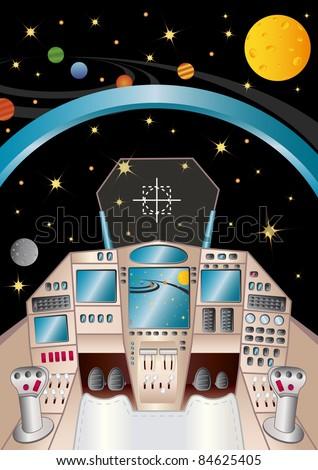 spaceship interior in the universe, vector illustration