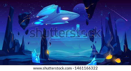 Spaceship, interstellar station hover above alien planet surface, neon space background with flying rocks, dark starry sky, fantasy extraterrestrial landscape with craters. Cartoon vector illustration
