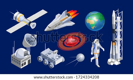 Spaceship isometric. Space shuttle, cosmic rocket, orbital satellite, mars rover, planets and space station isometric vector illustration. Spaceship, spacecrafts and cosmic technology isolated set.
