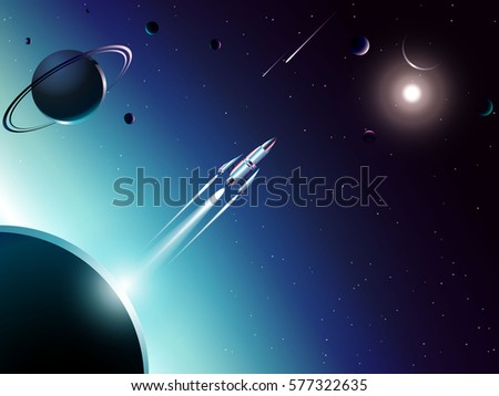 spaceship launching from planet to new world in universe across shooting star and solar system