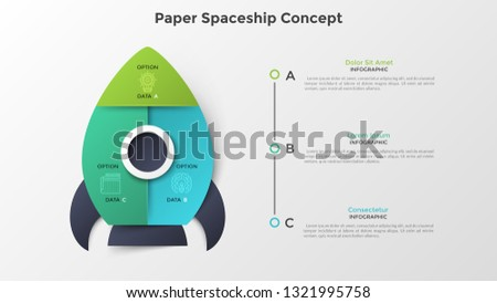 Spaceship or spacecraft divided into 3 colorful parts. Concept of three options or steps of startup project launch. Paper infographic design template. Modern vector illustration for presentation.