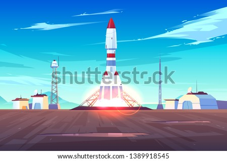 Spaceship start, heavy rocket carrier taking-off, launching satellite or international station on Earth orbit cartoon vector illustration. Space exploration, solar system planets colonization program