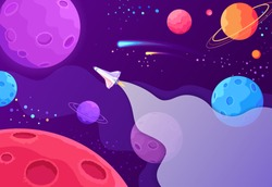 Spaceship travel to the new planets and galaxies. Space trip future technology