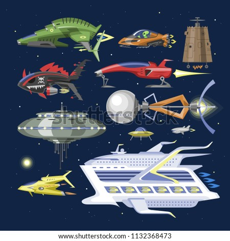 Spaceship vector spacecraft or rocket and spacy ufo illustration set of spaced ship or rocketship in universe space isolated on background