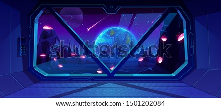 Spaceship view on Earth at night from alien planet with craters, neon space background with falling meteor in dark starry sky, fantasy landscape through shuttle window. Cartoon vector illustration