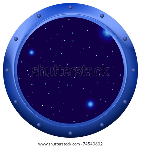 Spaceship window porthole with space, dark blue sky and stars