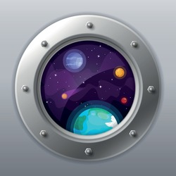 Spaceship window view. Porthole from rocket to dark sky with Earth, stars, planets. Shuttle with round glass window. Spaceship exploration or universe traveling cartoon vector illustration.