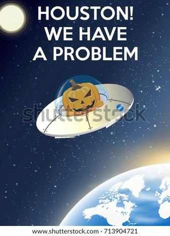 spaceship with an evil pumpkin