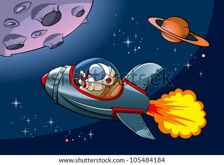 Spaceship with astronaut approaching a planet, vector illustration