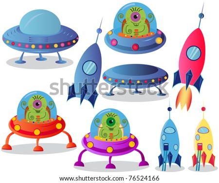Spaceships on a white background,  vector illustration